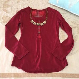 Patagonia S red long sleeve Henley top organic